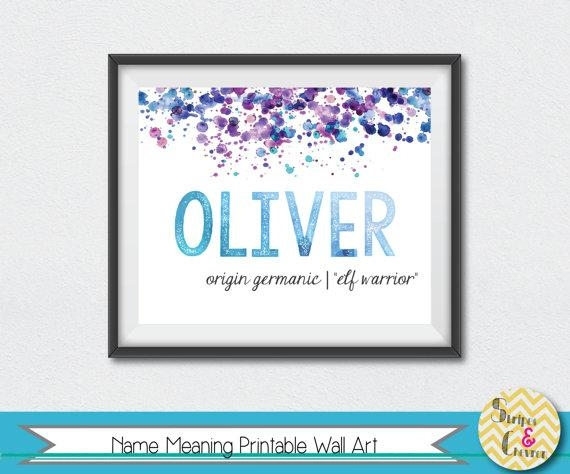 Baby Name Meaning Print Nursery Print Wall Art Name Art Regarding Baby Name Wall Art (Image 5 of 20)