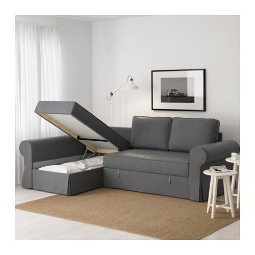 Backabro Sofa Bed With Chaise Longue Nordvalla Dark Grey – Ikea Regarding Chaise Longue Sofa Beds (Image 3 of 20)