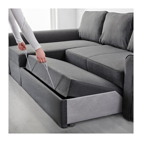 Backabro Sofa Bed With Chaise Longue Nordvalla Dark Grey – Ikea Throughout Chaise Longue Sofa Beds (Image 4 of 20)