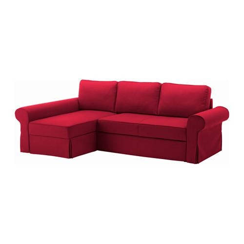 Backabro Sofa Bed With Chaise Longue Nordvalla Red – Ikea In Chaise Longue Sofa Beds (Image 5 of 20)