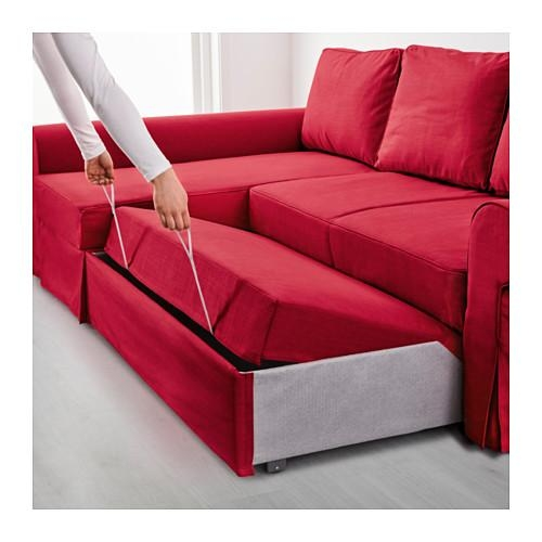 Backabro Sofa Bed With Chaise Longue Nordvalla Red – Ikea Within Chaise Longue Sofa Beds (Image 6 of 20)