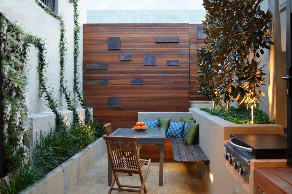 Backyard Art Patio Contemporary With Concrete Outdoor Throw With Regard To Contemporary Outdoor Wall Art (Image 1 of 20)