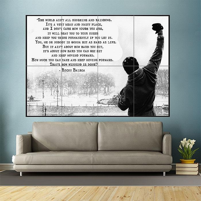 Balboa Inspirational Motivational Film Movie Quotes Block Giant With Regard To Rocky Balboa Wall Art (View 2 of 20)