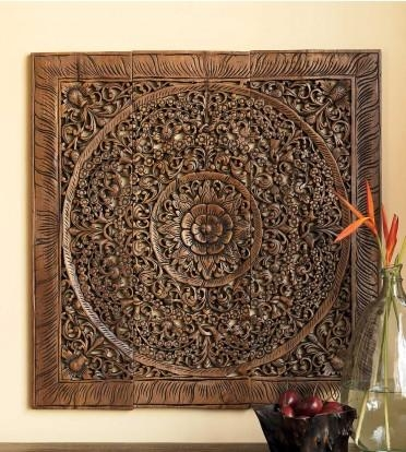 Balinese Antique Wood Carving Wall Art Panel – Siam Sawadee With Regard To Balinese Wall Art (View 2 of 20)