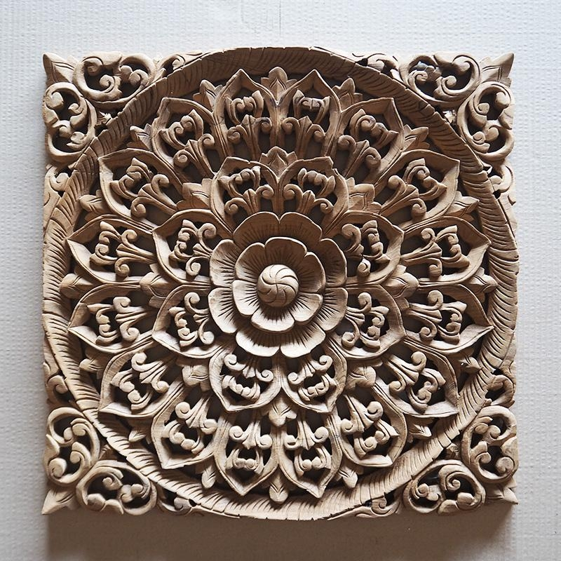 Balinese Hand Carved Wood Wall Art Panel – Siam Sawadee With Regard To Balinese Wall Art (View 6 of 20)