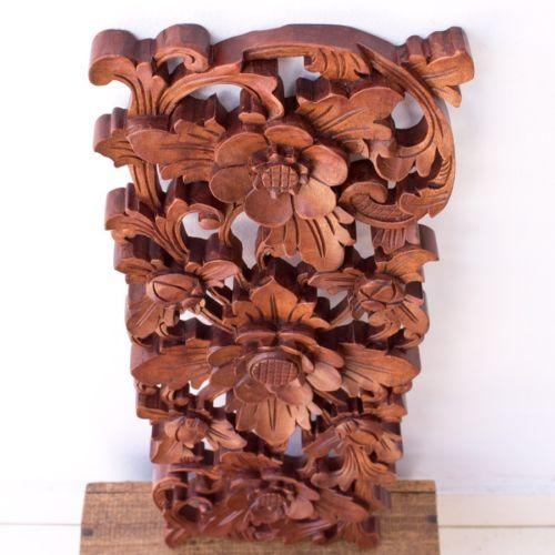 Balinese Traditional Lotus Flower Carved Wood Panel Bali Wall Art Pertaining To Balinese Wall Art (View 17 of 20)
