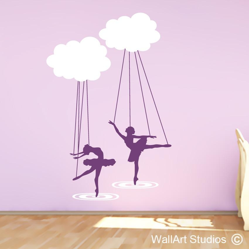 Ballerina Cloud Puppets | Girls Wall Decals | Wall Art Studios Sa In Wall Art For Girls (Image 6 of 20)