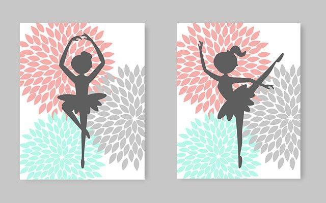 Ballerina Wall Art Little Girl Room Decor Nursery Art Aqua With Regard To Little Girl Wall Art (View 3 of 20)