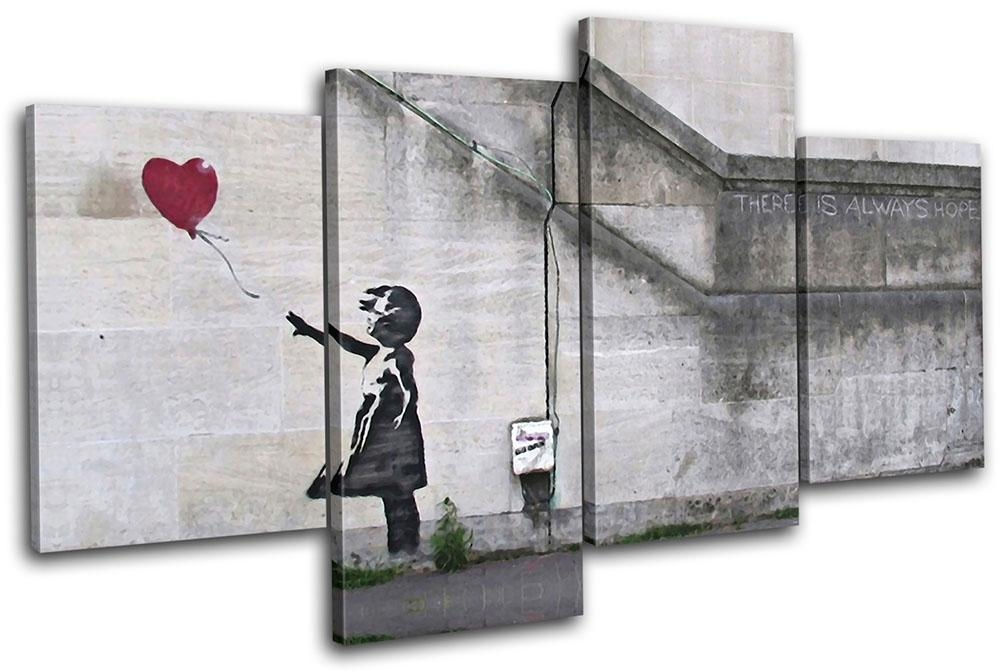 Balloon Girl Banksy Street Multi Canvas Wall Art Picture Print Va With Regard To Banksy Canvas Wall Art (Image 4 of 20)