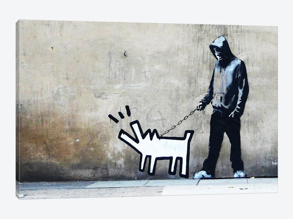 Banksy Choose Your Weapon Keith Haring Dog Canvas Art | Banksy Within Banksy Canvas Wall Art (Image 9 of 20)