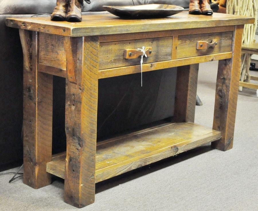 Barn Wood Sofa Table – Southern Creek Rustic Furnishings Regarding Barnwood Sofa Tables (View 1 of 20)
