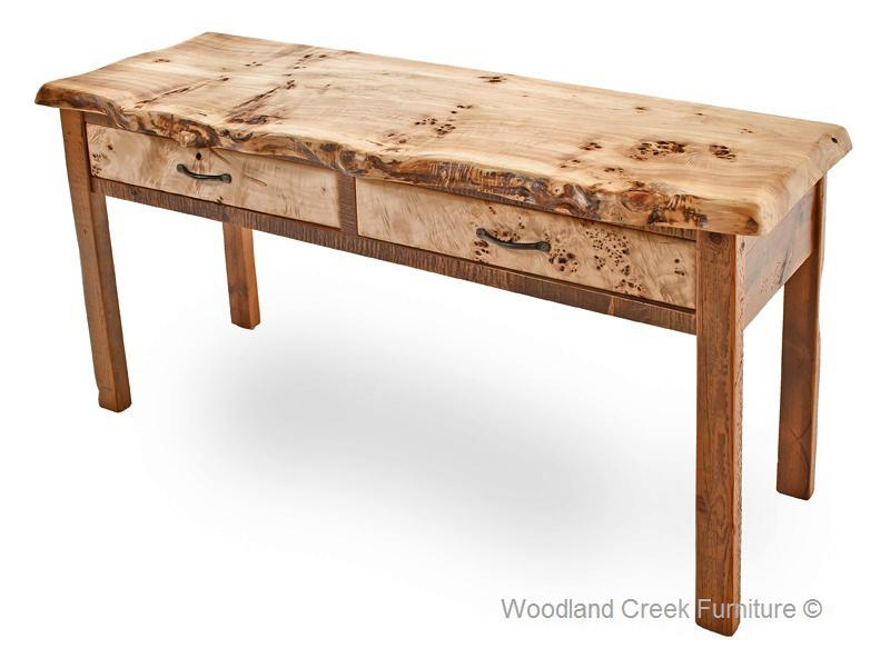 Barn Wood Sofa Table With Burl Wood, Reclaimed Cocktail With Regard To Barnwood Sofa Tables (Image 2 of 20)
