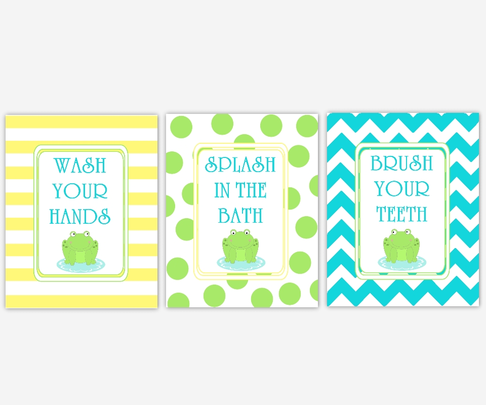 Bathroom Canvas Wall Art Yellow Green Blue Wash Splash Flush Frog Intended For Kids Canvas Wall Art (Image 5 of 20)