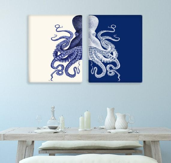 Bathroom Decor 2 Octopus Prints Navy Blue /cream Nautical With Regard To Blue And Cream Wall Art (Image 10 of 20)