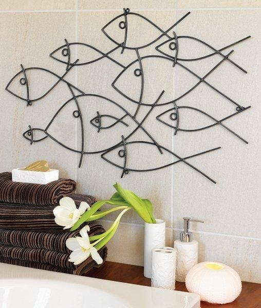 Bathroom Wall Art & Decorating Tips Inoutinterior, Bathroom Decor Within Seaside Metal Wall Art (Image 4 of 20)