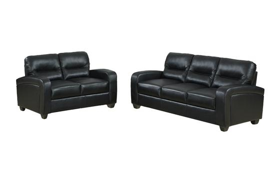 Baxton Studio Leather Sofas Within Black Leather Sofas And Loveseat Sets (Image 3 of 20)