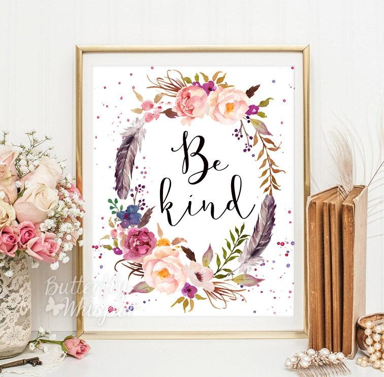 Be Kind Printable Wall Art Inspirational Canvas Quote Poster Inside Shabby Chic Canvas Wall Art (Image 3 of 20)