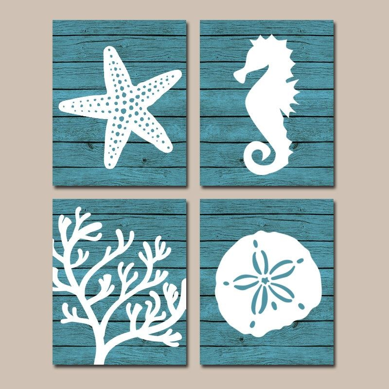 Beach Bathroom Wall Art Canvas Or Prints Nautical Coastal With Coastal Wall Art Canvas (Image 4 of 20)
