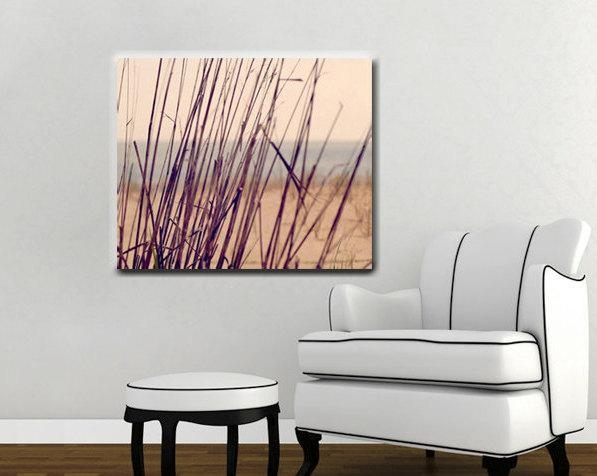 Beach Grass On Gallery Wrapped Canvas | Large Nautical Wall Decor Inside Plum Wall Art (Image 2 of 20)