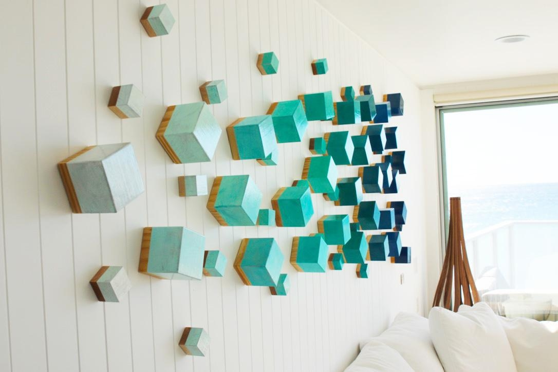 Beach Inspired Wall Art | Ocean Breeze Cubed | Rosemary Pierce Throughout Contemporary Wall Art (Image 2 of 20)
