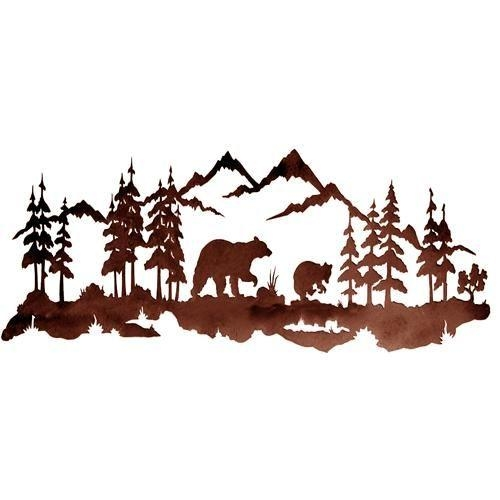 Bear Family 42'' Metal Wall Art At Rocky Mountain Cabin Decor Intended For Mountain Scene Metal Wall Art (Image 6 of 20)