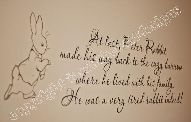 Beatrix Potter – Peter Rabbit & Quote Wall Sticker – Design 2 Intended For Peter Rabbit Wall Art (Image 5 of 20)