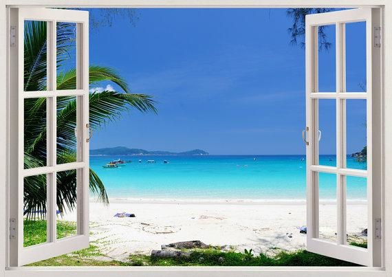 Beautiful Beach Wall Art 3D Window Beach Wall Decal With In Beach Wall Art (View 6 of 20)