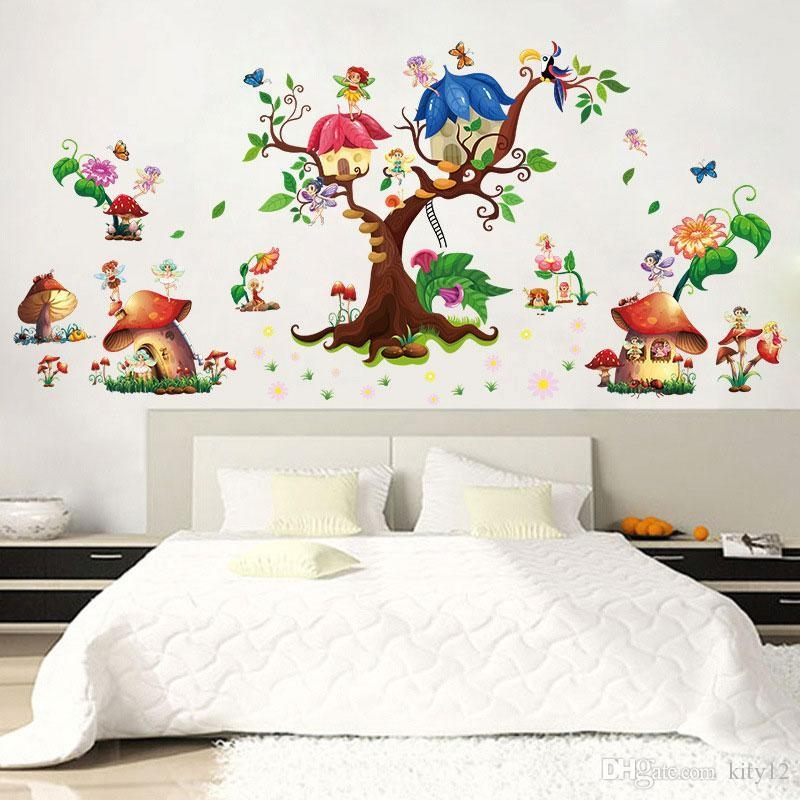 Beautiful Butterfly Mushroom Wall Sticker Creative Flower Elf Wall Inside Mushroom Wall Art (View 14 of 20)