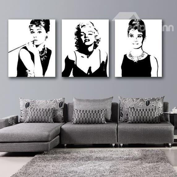 Beautiful Marilyn Monroe And Audrey Hepburn Print 3 Piece Cross Inside Media Room Wall Art (Image 11 of 20)
