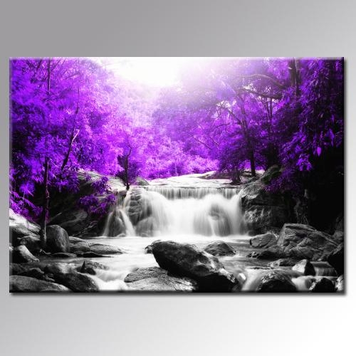 Beautiful Purple Trees Waterfall Landscape Canvas Wall Art Print With Regard To Purple Canvas Wall Art (Image 2 of 20)