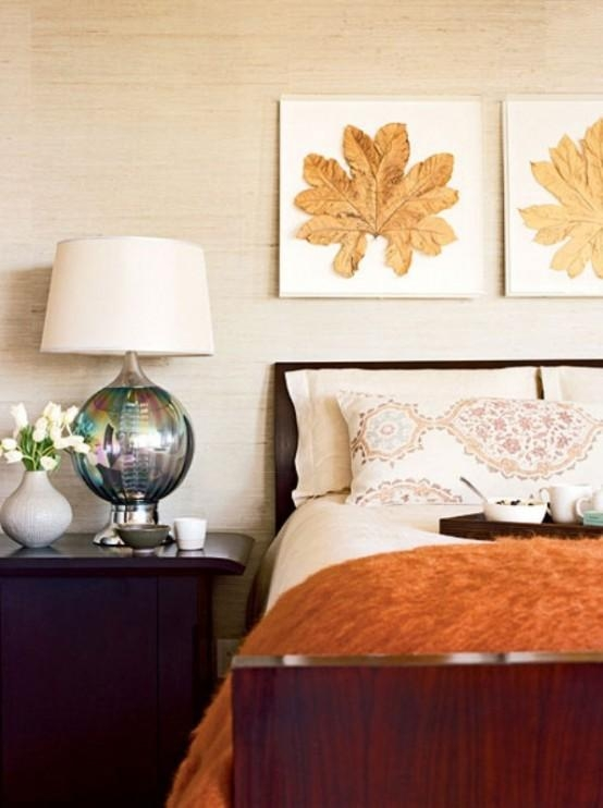 Bedroom: Amusing Fall Bedroom Decorating Ideas With Leaves Wall With Regard To Autumn Inspired Wall Art (View 6 of 20)