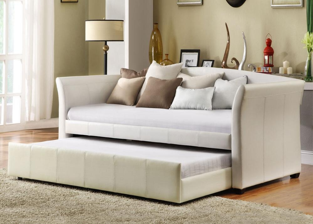 Bedroom Daybed Sofa With Trundle Larkin Pop Up Style | Neurostis Pertaining To Sofas With Trundle (Image 2 of 20)