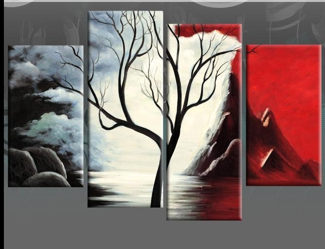 Beginnings Red Black White Tree Landscape Abstract 4 Panel Canvas Inside Black And White Wall Art With Red (View 11 of 20)