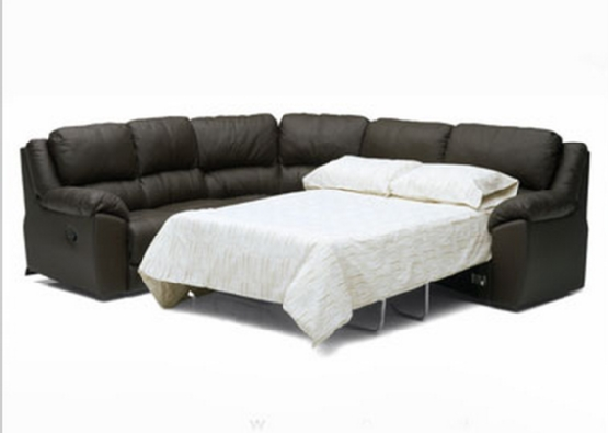 Beige Leather Sectional Sofa Sleeper With Adjustable Headrests Within Beige Leather Couches (Image 5 of 20)