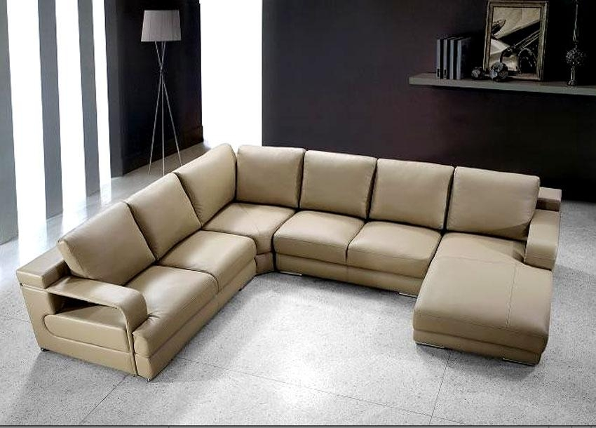 Beige Sectional Sofa | Roselawnlutheran Regarding Beige Leather Couches (Image 7 of 20)