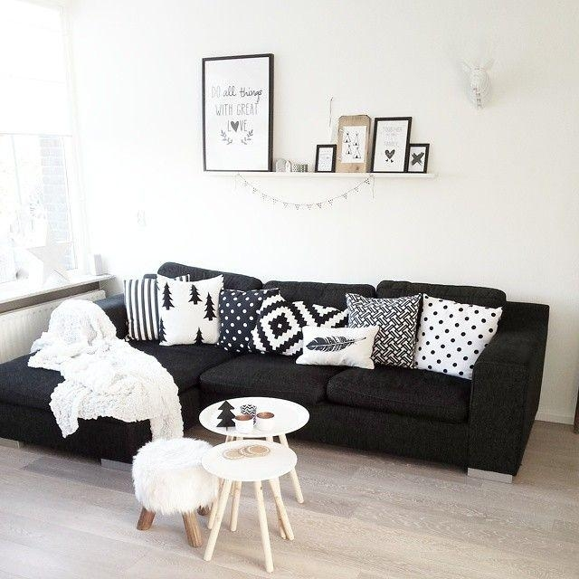 Best 20+ Black Couch Decor Ideas On Pinterest | Black Sofa, Big Inside Black And White Sofas And Loveseats (Image 6 of 20)