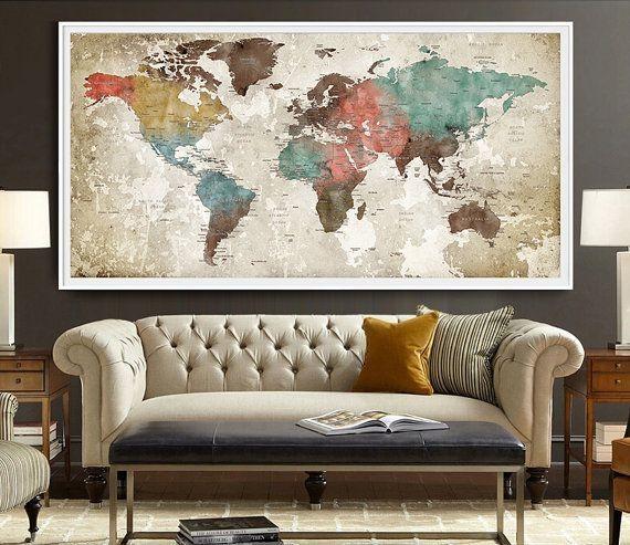 Best 20+ World Map Wall Art Ideas On Pinterest | Travel Regarding Map Wall Art (Image 7 of 20)