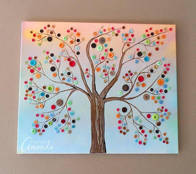 Best 25+ Button Tree Canvas Ideas On Pinterest | Button Tree With Regard To Vibrant Wall Art (View 8 of 20)