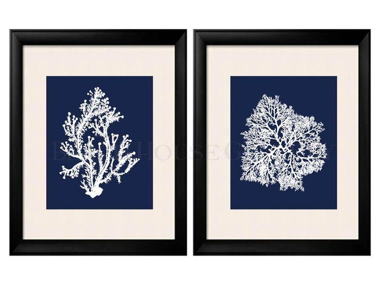 Best 25+ Coral Wall Art Ideas On Pinterest | Hallway Wall Decor Pertaining To Blue And White Wall Art (Image 6 of 20)