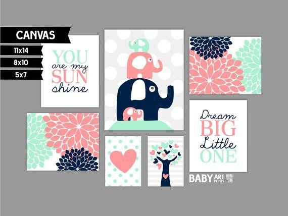 Best 25+ Navy Girl Nursery Ideas On Pinterest | Baby Room, Babies With Regard To Canvas Prints For Baby Nursery (View 20 of 20)