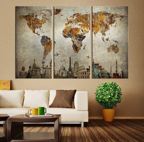 Best 25+ Vintage World Maps Ideas On Pinterest | Ladies Watches Within Large Vintage Wall Art (Image 7 of 20)