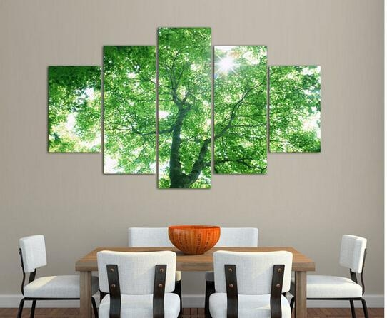 Best 5 Panel Green Tree Painting Canvas Wall Art Picture Home Inside Green Canvas Wall Art (Image 10 of 20)