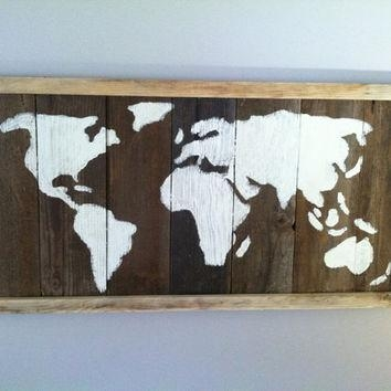 Best Barn Wood Wall Art Products On Wanelo Within World Map Wood Wall Art (Image 8 of 20)