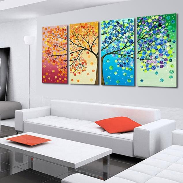 Best Hand Painted The Season Tree Oil Painting Colorful Wall Art For 4 Piece Wall Art Sets (View 11 of 20)