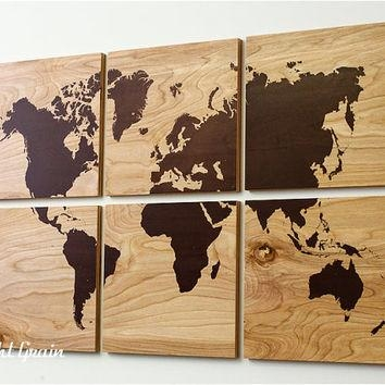 Best Large Rustic Wall Decor Products On Wanelo Pertaining To World Map Wood Wall Art (Image 9 of 20)