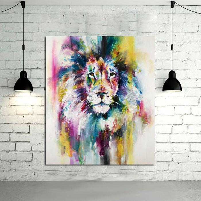 Best No Framed 1 Panel Modern Animal Lion King Oil Painting On For Animal Canvas Wall Art (View 6 of 20)