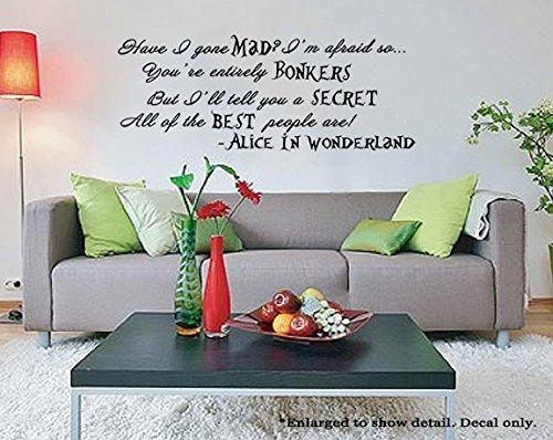 "Best People Are Bonkers"" Alice In Wonderland Quote Vinyl Wall In Tim Burton Wall Decals (Image 9 of 20)"