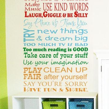 Best Playroom Rules Wall Art Products On Wanelo Regarding Wall Art For Playroom (Image 10 of 20)