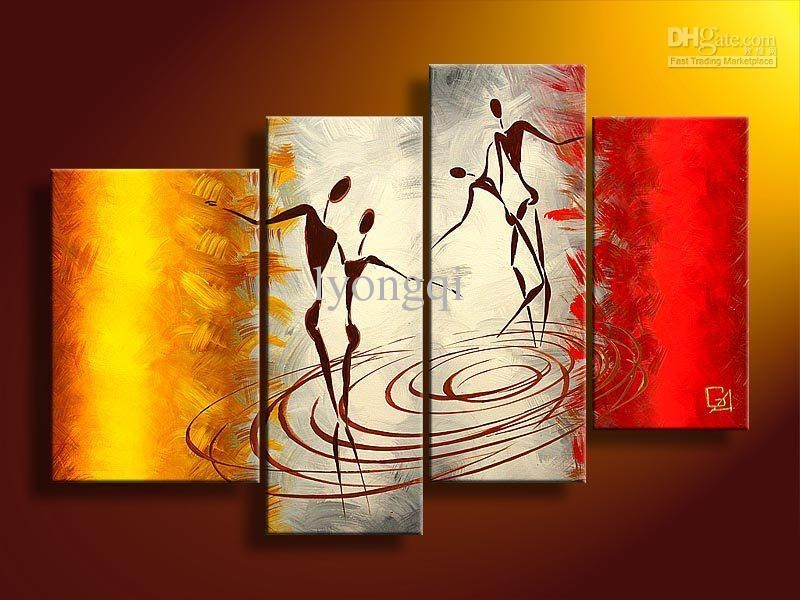 Best Quality Hand Painted Hi Q Modern Vogue Wall Art Home In Red And Yellow Wall Art (Image 7 of 20)