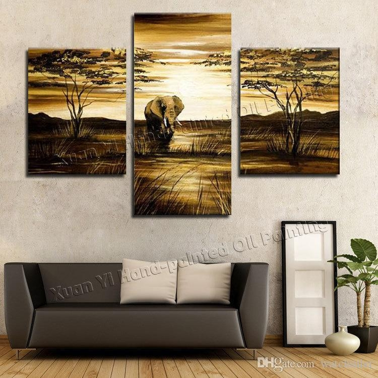 Best Wall Art Grassland African Elephants Animals Sunrise Home Within 3 Piece Modern Wall Art (Image 9 of 20)